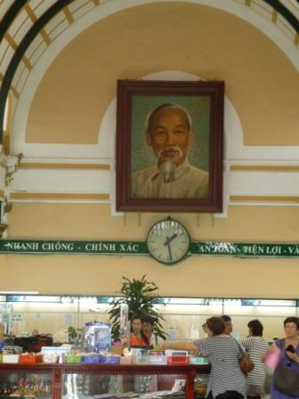 Ho Chi Minh portrait at central post office